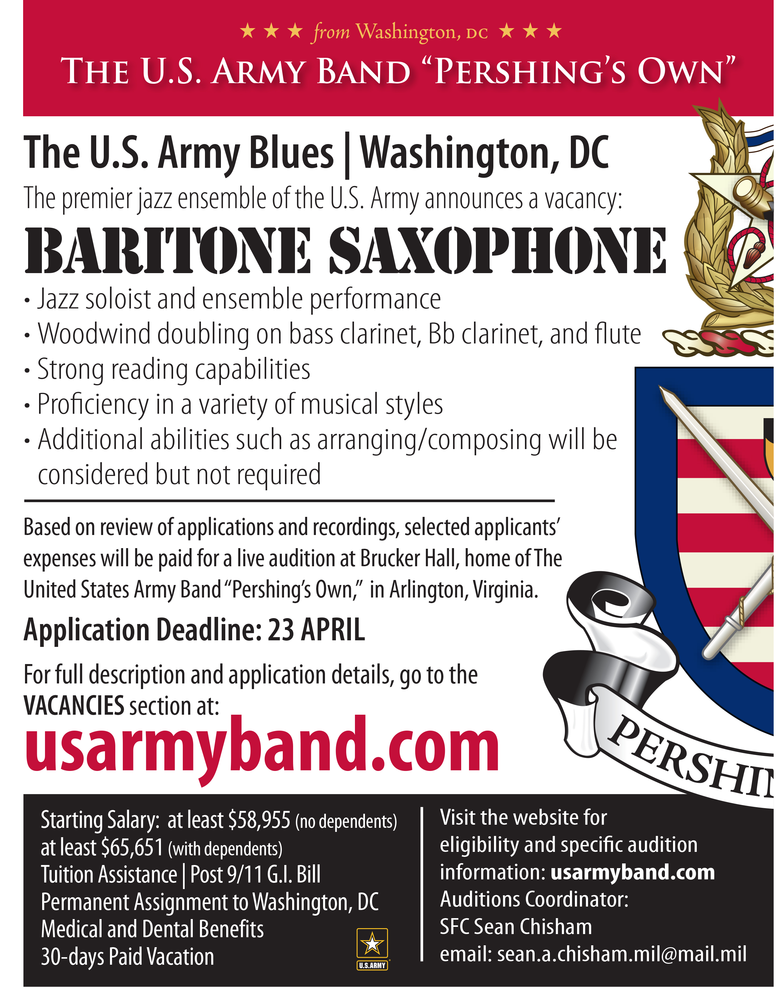 U.S. Army Blues ensemble looking for Baritone saxophonist ...